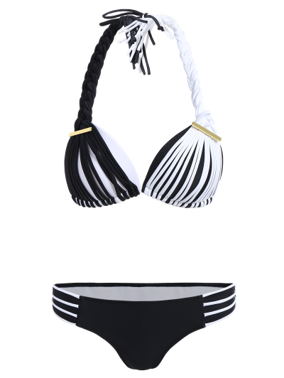 Color Match Braided Halter Bikini - WHITE AND BLACK L Mobile