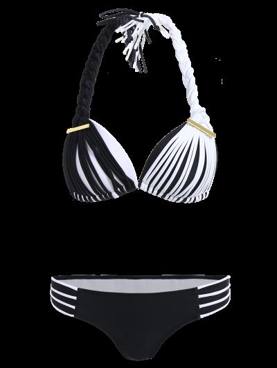 Color Match Braided Halter Bikini - WHITE AND BLACK M Mobile