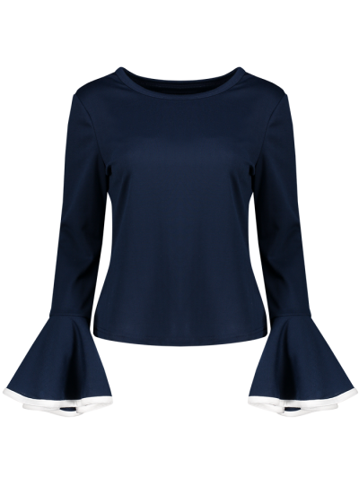Flare Sleeve Blouse - CADETBLUE XL Mobile