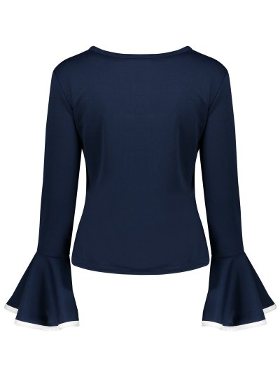 Flare Sleeve Blouse - CADETBLUE S Mobile
