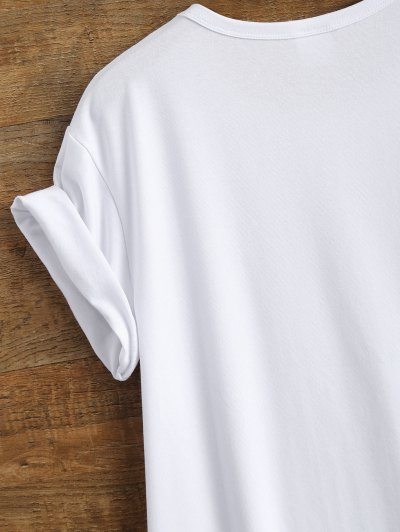 Cotton Curled Sleeve Letter T-Shirt - WHITE L Mobile