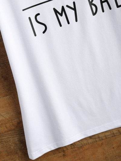 Cotton Curled Sleeve Letter T-Shirt - WHITE M Mobile