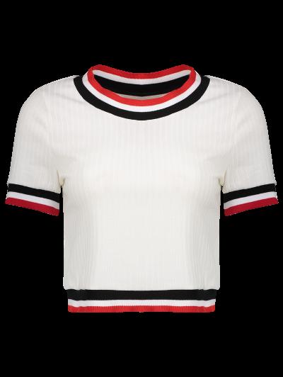 Knittung Cropped Stripe Panel T-Shirt - WHITE L Mobile