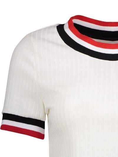 Knittung Cropped Stripe Panel T-Shirt - WHITE M Mobile