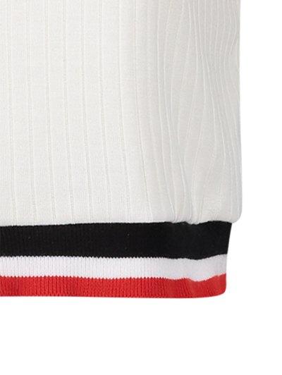 Knittung Cropped Stripe Panel T-Shirt - WHITE S Mobile
