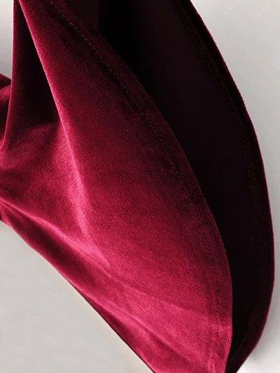 Cut Out Bell Sleeve Velvet Dress - BLACKISH GREEN L Mobile