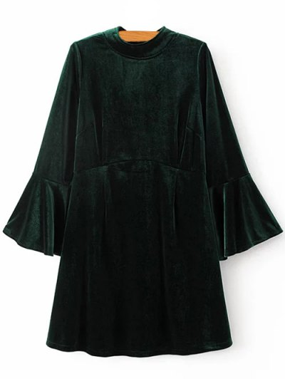 Cut Out Bell Sleeve Velvet Dress - BLACKISH GREEN M Mobile