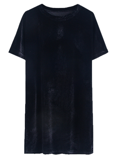 Velvet Mini Shift Layering Dress - BLACK ONE SIZE Mobile