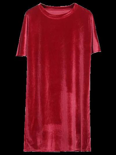 Velvet Mini Shift Layering Dress - BRIGHT RED ONE SIZE Mobile