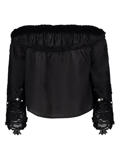 Off The Shoulder Lace Bell Sleeve Blouse - BLACK 2XL Mobile