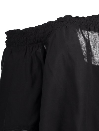 Off The Shoulder Lace Bell Sleeve Blouse - BLACK S Mobile