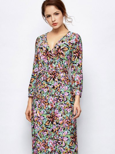 Maxi Print Wrap Dress - MULTICOLOR M Mobile