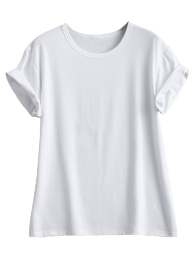 Streetwear Curled Sleeve Printed T-Shirt - WHITE M Mobile