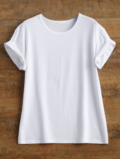 Streetwear Curled Sleeve Printed T-Shirt - WHITE S Mobile