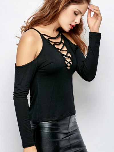 Lace-Up Cold Shoulder T-Shirt - BLACK 2XL Mobile