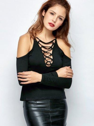 Lace-Up Cold Shoulder T-Shirt - BLACK L Mobile