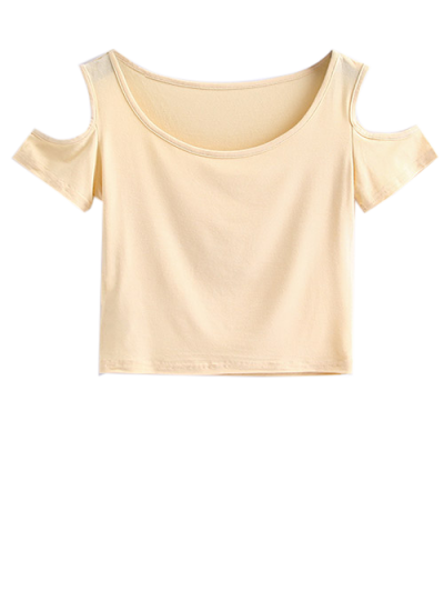 Cold Shoulder Crop Tee - APRICOT M Mobile