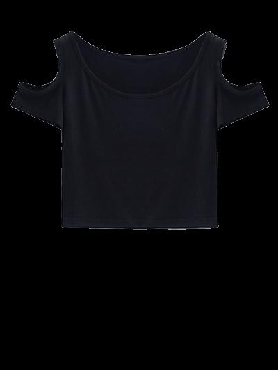 Cold Shoulder Crop Tee - BLACK M Mobile