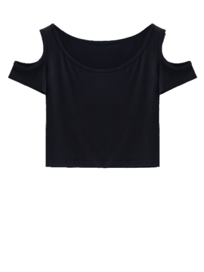 Cold Shoulder Crop Tee - BLACK S Mobile