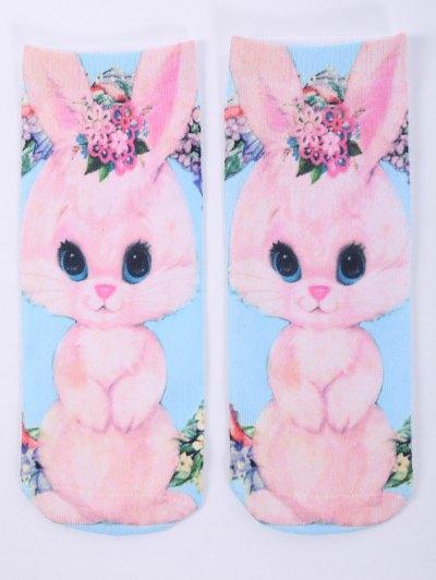 One Side 3D Cartoon Rabbit Printed Crazy Ankle Socks - PINK  Mobile