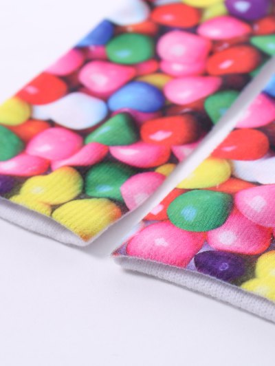 One Side 3D Round Sweets Printed Crazy Ankle Socks - COLORFUL  Mobile