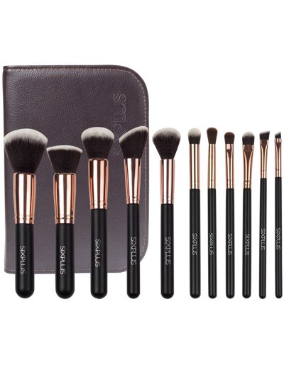 11 Pcs Nylon Makeup Brushes Kit - DEEP BROWN  Mobile