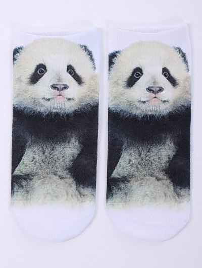 One Side 3D Panda Baby Printed Crazy Ankle Socks - WHITE  Mobile