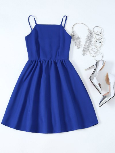Strappy Fit and Flare Mini Dress - SAPPHIRE BLUE M Mobile