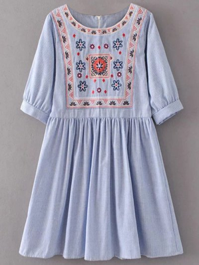 Striped Embroidered Smock Mini Dress - Light Blue