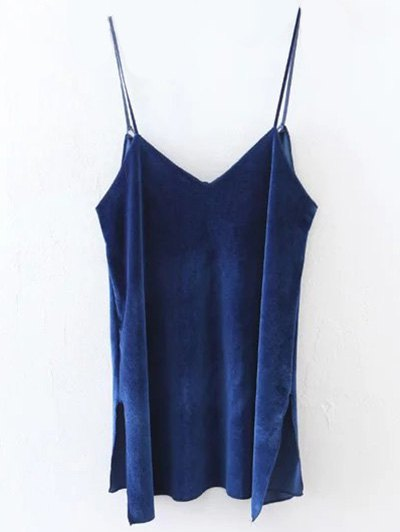 Slit Cami Velvet Tank Top - ROYAL L Mobile