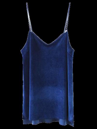Slit Cami Velvet Tank Top - ROYAL M Mobile
