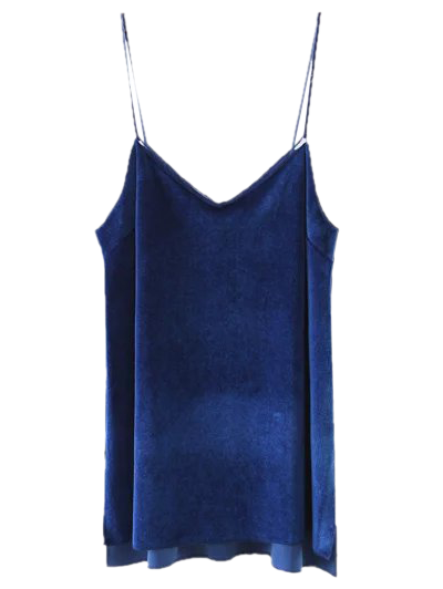 Slit Cami Velvet Tank Top - ROYAL S Mobile