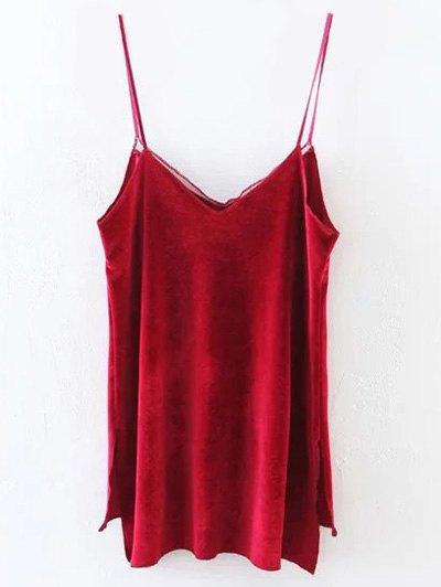 Slit Cami Velvet Tank Top - RED S Mobile