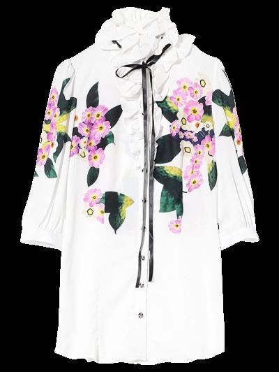 Longue Chemise Volants Floral - Blanc M