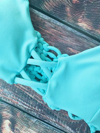 Cami Braided High Leg Bikini Set - LAKE GREEN M Mobile