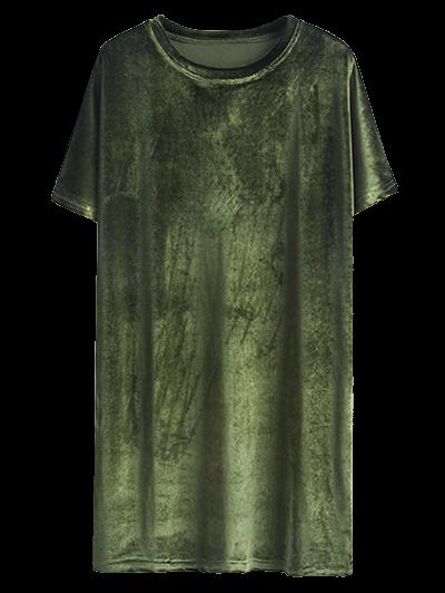 Velvet Mini Shift Layering Dress - ARMY GREEN ONE SIZE Mobile