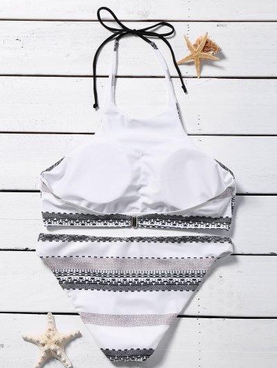 Striped Halter Rope Bikini Set - WHITE S Mobile