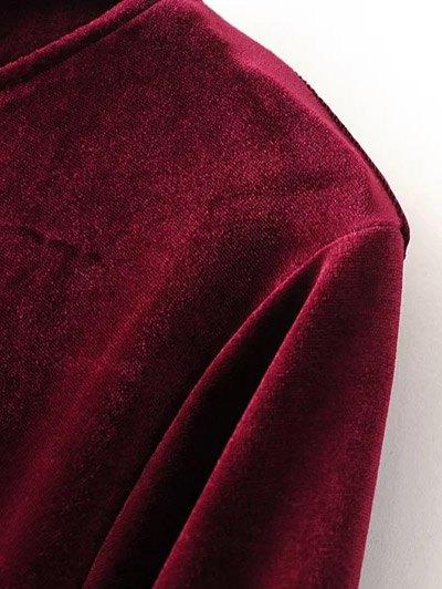 Cut Out Bell Sleeve Velvet Dress - BLACK M Mobile