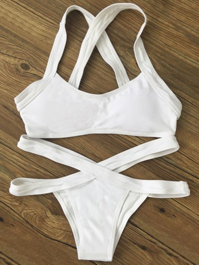 Color Block Banded Swimsuit - WHITE M Mobile
