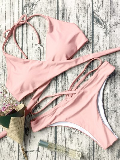 Double Side Crossover Bikini Set - Pink