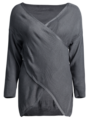 Crossover Pullover Sweater - Deep Gray