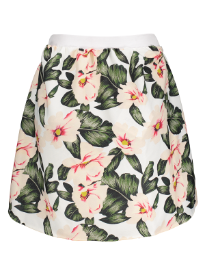 Floral A-Line Mini Skirt - Green