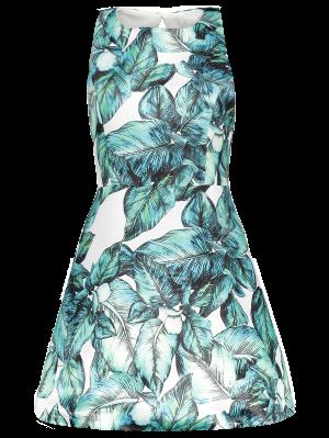 Back Stitch Printed A-Line Dress - Green