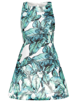 Back Stitch Printed A-Line Dress - Green