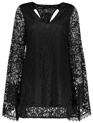Bell Sleeve Plunge Neck Lace Dress - Black