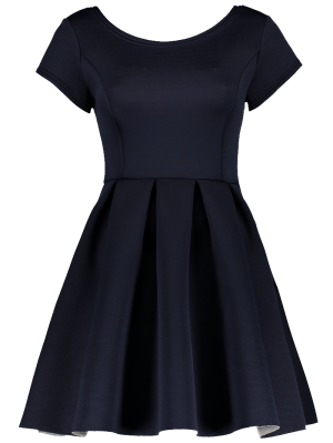Open Back Bonded Skater Dress - Cadetblue