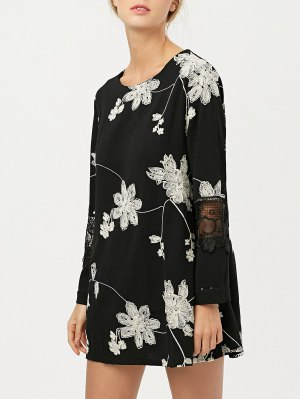 Lace Panel Floral Embroidered Dress - Black
