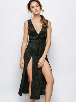 Low Cut Lace Plunge Empire Waist Prom Dress - Black