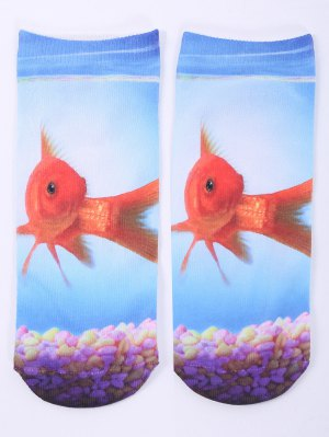 One Side 3D Goldfish Printed Crazy Ankle Socks - Cloudy