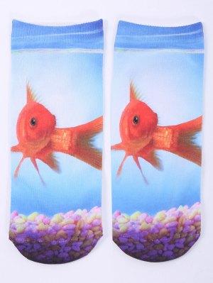 socquettes a motif one side poisson en or en 3D